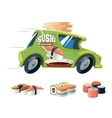 sushi delivery green car vector image vector image