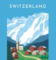 switzerland travel retro poster nature vintage vector image vector image