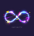 the infinity sign in the modern graphics with glow vector image