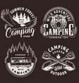 vintage camping season monochrome labels vector image vector image