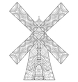Windmill coloring for adults vector image vector image