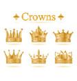 set of gold king crown vector image