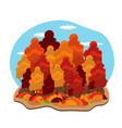 autumn colorfull trees hello vector image