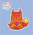 baby fox in lotus meditation cute decorative vector image vector image