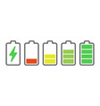 battery charge indicators energy icons battery vector image