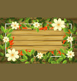 beautiful flower on wooden frame vector image vector image