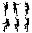 black set silhouette rock climber on white vector image vector image
