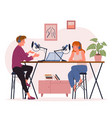 blogger podcaster people streaming young man vector image