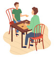 board game family people mother and son sitting vector image