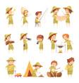 boy scout retro cartoon icons set vector image vector image