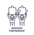 business partnership line icon concept business vector image vector image