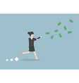 businesswoman chasing falling dollar bills vector image vector image