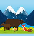 canadian landscape with animals group scene vector image
