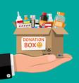 cardboard box full drugs in hand vector image