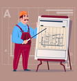 cartoon builder explain plan of building blueprint vector image vector image