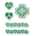 Celtic green heart knot - symbols set vector image vector image