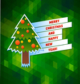 Christmas tree bright greeting card vector image vector image