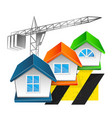 construction and repair of houses with a crane vector image vector image