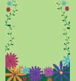 decorative funny colorful floral background frame vector image vector image