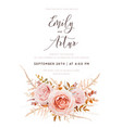 fall floral watercolor style wedding invite card vector image vector image