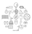 football field icons set outline style vector image vector image