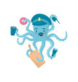 funny blue octopus with mustache in policeman s vector image vector image