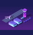 future 3d isometric airport vector image vector image