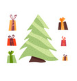 gifts and christmas tree isolated vector image vector image