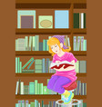 girl studying in library vector image