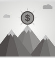 gray coin on top of mountain business success vector image vector image