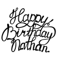 Happy birthday Nathan name lettering vector image vector image