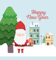 happy new year 2020 celebration cute santa tree vector image vector image