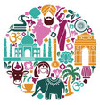 icons of india in the form of a circle vector image vector image