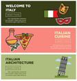 italian cuisine and architecture internet promo vector image