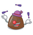 juggling chocolate candies mascot cartoon vector image