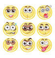lemon cut with different emotions vector image vector image
