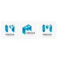 letter m concept media technology logo design vect vector image