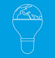 Light bulb and planet earth icon outline vector image