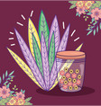mason jar flowers leaves border foliage decoration vector image vector image