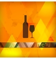menu design with bottle and wineglass sign vector image vector image