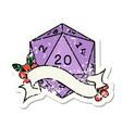 natural twenty d20 dice roll grunge sticker vector image vector image