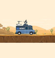 news tv car van on the desert with sand and vector image