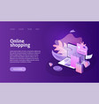 online shopping landing or e-commerce vector image