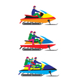 People family on a Snowmobile Winter sports vector image