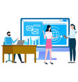 people standing near website with information vector image vector image