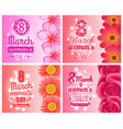 posters on international women day holiday 8 march vector image