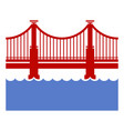 red bridge icon over river vector image vector image