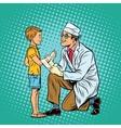 Retro doctor bandaging boy injured arm vector image vector image