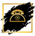 retro telephone sign golden icon at black vector image vector image
