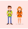 Schoolgirl and scoolboy on isolated background vector image